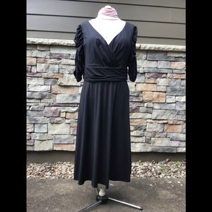 Soft stretchy black jersey dress, 3/4 sleeves